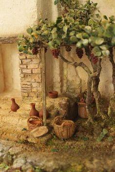 Fontanini Nativity, Diy Nativity, Christmas Nativity Scene, Christmas Art, Beautiful Christmas, Christmas Crib Ideas, Christmas Decorations, Miniature Crafts, Miniature Houses