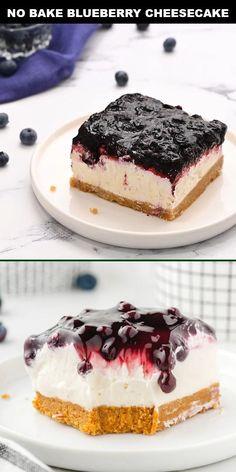 No Bake Blueberry Cheesecake, Baked Cheesecake Recipe, Homemade Cheesecake, Simple No Bake Cheesecake, Frozen Cheesecake, Köstliche Desserts, Holiday Desserts, Delicious Desserts, Crockpot Dessert Recipes