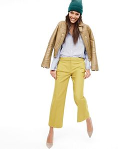 OCT '15 Style Guide: J.Crew women's Thomas Mason® for J.Crew collarless tuxedo shirt in stripe, patio pant, beanie, Collection leather flight jacket and Elsie pumps with enamel heel.