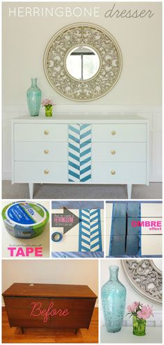 DIY Herringbone Dresser using just paint and tape mid century modern dresser