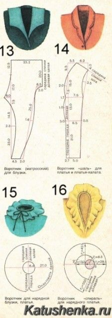 Collar shapes for altering 18-inch doll clothes patterns {site not in English but will need translation; just use a favorite translator service} Выкройки воротников