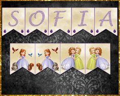 Awesome Sofia the First Inspired Banner/Bunting Sofia The First, The One, Etsy Store, Banners, Vibrant Colors, Card Stock, My Design, Lettering, Letters
