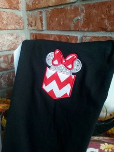 Personalized Chevron Minnie Mouse Applique Pocket Shirt. Shirt will look as pictured if not specified but any color shirt, fabric, or colors