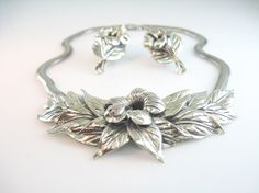 Danecraft Silver Flower Necklace Earrings by bohemiantrading, $225.00