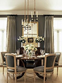 mrs.adam: BHG - Gray walls paint color, gray silk drapes, gilt mirror, vintage buffet, round ...