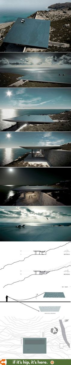 Rimless pool serves as roof for hillside home in Greece.