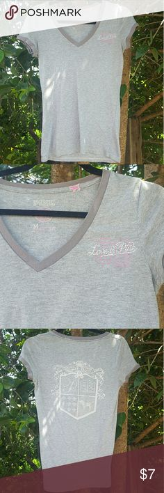 Vs PINK heather gray Sleep V-Neck Only worn a handful of times! Very good condition with no blemishes. Cute diamond embellishments  Super soft material. You'll just love it! Size Medium  Bundle 3 items to save 20% Ships same day before 2PST PINK Victoria's Secret Tops Tees - Short Sleeve