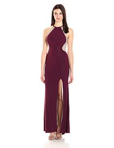 Xscape Women's Long Halter Gown with Caviar Beading, Wine/Nude/Silver, Halter neckline. Caviar bead back. Formal Dresses For Women, Long Dresses, Thing 1, Halter Gown, Junior Dresses, Caviar, Amazing Women, Cool Style, Fashion Dresses
