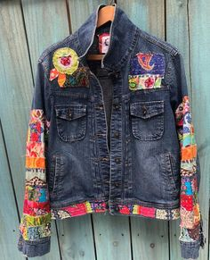 Your place to buy and sell all things handmade ready to ship jean jacket hippie boho embellished colorful denim jean kantha jacket by SewUnruly on Etsy Patchwork Jeans, Denim And Lace, Hippie Boho, Custom Denim Jackets, Denim Vintage, Jean Jacket Outfits, Denim Jeans, Altered Couture, Painted Clothes