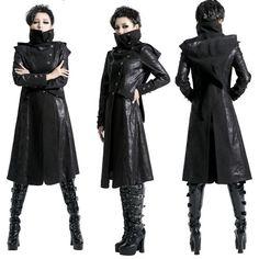 Women Black Gothic Vampire Hooded Long Jacket Trench Coat Windbreaker SKU-11401218