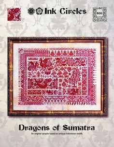 10% OFF Pre-order NEW Nashville Market 2017 Dragons of Sumatra cross stitch pattern by Ink Circles at thecottageneedle.com monochromatic by thecottageneedle