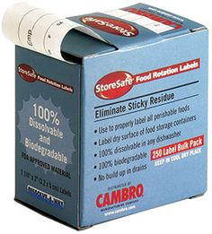 """Cambro 1252SLB250 1 1/4"""" x 2"""" StoreSafe Dissolving Product Label 250 / Roll - Printed"""