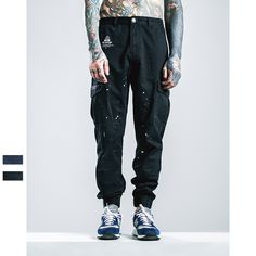 Blue black new street fashion mens bottom casual hipster jogger pants Chinese splash ink baggy cargo trousers skate skateboard
