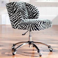Zebra Winged Back Desk Chair on Wheels