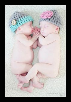 Newborn Twin Hats - Photography Prop - Boy Girl. $30.00, via Etsy.
