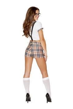 Seductive Schoolgirl Costume by Roma style 4551 features a white tie front crop top with plaid print lapels, plaid high waisted shorts with suspenders and bow tie neck.