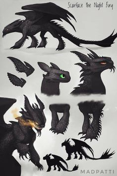 Scarface the Night Fury by Madpattii on DeviantArtYou can find Night fury and more on our website.Scarface the Night Fury by Madpattii on DeviantArt Creature Drawings, Animal Drawings, Cute Drawings, Httyd Dragons, Dragon Sketch, How To Train Dragon, Dragon Artwork, Mythical Creatures Art, Creature Concept