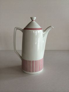Rorstrand Kadett of Sweden Teapot / Coffee Pot in Red and White Stripe.  Iconic and rare vintage Swedish.  A charming red candy stripe.  No signs