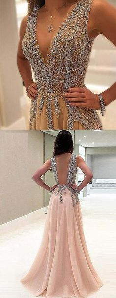 Unique Prom Dresses, Stunning Sleeveless V Neck Open Back With Beading Prom Dress, There are long prom gowns and knee-length 2020 prom dresses in this collection that create an elegant and glamorous look Open Back Prom Dresses, Unique Prom Dresses, Long Prom Gowns, Pink Prom Dresses, Plus Size Prom Dresses, Backless Prom Dresses, Grad Dresses, Popular Dresses, Homecoming Dresses