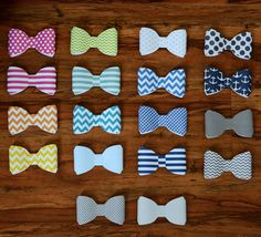 Custom Set of 10 Bows / Bow Ties for Baby Shower by rufflesnsuch