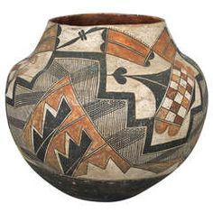Antique Native American Pottery Olla - Acoma, 19th Century