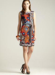Bold Print Belted Wrap Dress