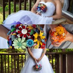 Custom Vintage to Modern Brooch Bouquet & Brooch Flower Girl Bouquet for a Canadian bride by The Flower Co. Jeweled Brooch Bouquets.