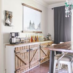 Came across this photo of our old dining room earlier today and it reminded me how much I loved having a hot chocolate bar set up through the holidays. Wondering if I should make a mini version in our RV... What's funny is we did bring those moose hooks with us as and actually made a smaller version of the watercolor Tahoe print that we now have in our bedroom.