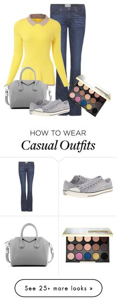 """""""Casual Yellow and Gray"""" by jordan-hansen on Polyvore featuring Current/Elliott, Urban Decay, Givenchy, Converse, women's clothing, women, female, woman, misses and juniors"""