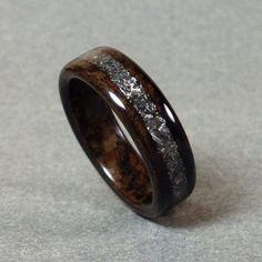 Bentwood Ring Meteorite Inlay Ziricote by DouglasandFir on Etsy