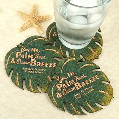 "Make choosing your wedding favors a ""breeze""! Our Personalized Palm Leaf Cork Coasters add a tropical touch to any celebration!  Each beautiful"