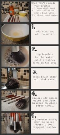 This is the recipe I use to clean my makeup brushes! It makes them crazy clean and amazingly soft. It also brings Beauty Blenders to their original color!