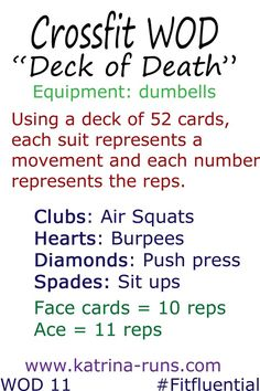 Not a huge crossfit fan but this looks like a good way to get in an interesting workout... Could even switch up the moves and as you get more advanced double the reps of each card.