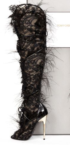 Tom Ford Ultra Rare Lace Feather Over-the-Knee Boots Ankle Boots, Thigh High Boots, Over The Knee Boots, Heeled Boots, Bootie Boots, Pumps, Shoes Heels, Stilettos, Crazy Shoes