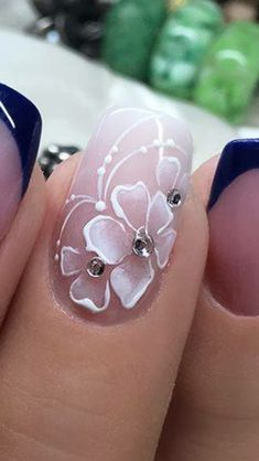 nail design - Nails, Beauty and Sport - Acrylic Nail Designs, Nail Art Designs, Acrylic Nails, French Nails, Cruise Nails, Nails Now, Floral Nail Art, Latest Nail Art, Luxury Nails