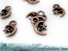 {100} Crescent Moon Mini Charms In Antq Copper Finish . Starting at $5 on Tophatter.com!