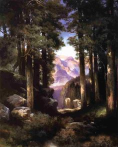 Art oil painting Thomas Moran - Grand Canyon of the Colorado & forest landscape