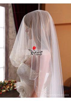 Sheer Embroidery Wedding Veil Tulle Bridal Veil No Comb Style BV054 - Wedding Veil