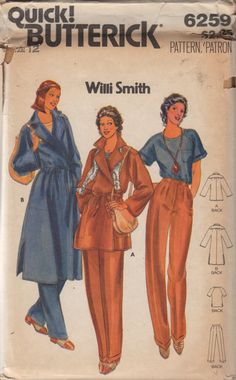 Butterick 6259 1970s Willi Smith Misses Wrap Coat  Jacket Pants and Pullover Top Pattern womens vintage sewing pattern by mbchills