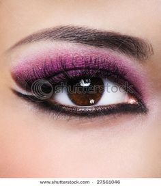 Front View Of Beauty Female Eye With Purple Make-Up Stock Photo ...
