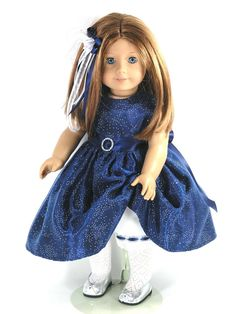Navy Organza Taffeta Christmas Dress for American Girl Dolls - Exclusively Linda Doll Clothes