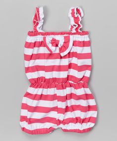 Loving this Pink & White Stripe Romper - Girls on #zulily! #zulilyfinds