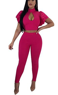 2764b5c357 Playworld Women s Sexy Off Shoulder 2 Pieces Outfits Jumpsuit Crop Tops and  Pants Set