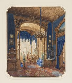 """""""Blue Interior"""" 1877 Brush and watercolor, gouache and gold paint on white wove paper. Courtesy of the Cooper-Hewitt National Design Museum. Victorian Interiors, Victorian Decor, Vintage Interiors, Victorian Homes, Victorian Era, Interior Rendering, Interior Architecture, Royal Blue Walls, Marquise"""