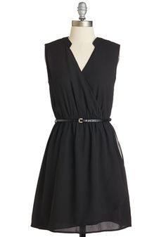 Glee, Myself, and I Dress in Black. Cinching the belt around this chic black dress, youre smiling before you even walk out the door! #black #modcloth