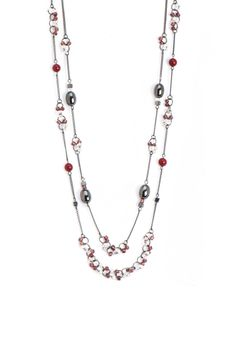 Tricia Long 2 Strand Pink Necklace | Christopher and Banks