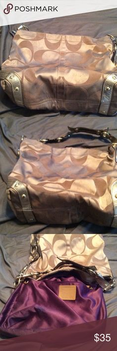 Gold coach bag used Used gold coach bag large Coach Bags Shoulder Bags