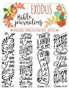 EXODUS - 4 Bible journaling printable templates, illustrated christian faith bookmarks, black and white bible verse prayer journal stickers