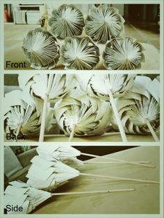 360 view on the Paper Protea info@paperj.com Paper Flower Art, Tissue Paper Flowers, Origami Flowers, Flower Crafts, Flor Protea, Protea Flower, Old Book Crafts, Book Page Crafts, Folded Book Art