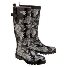Womens Silver Roses Rain Boots